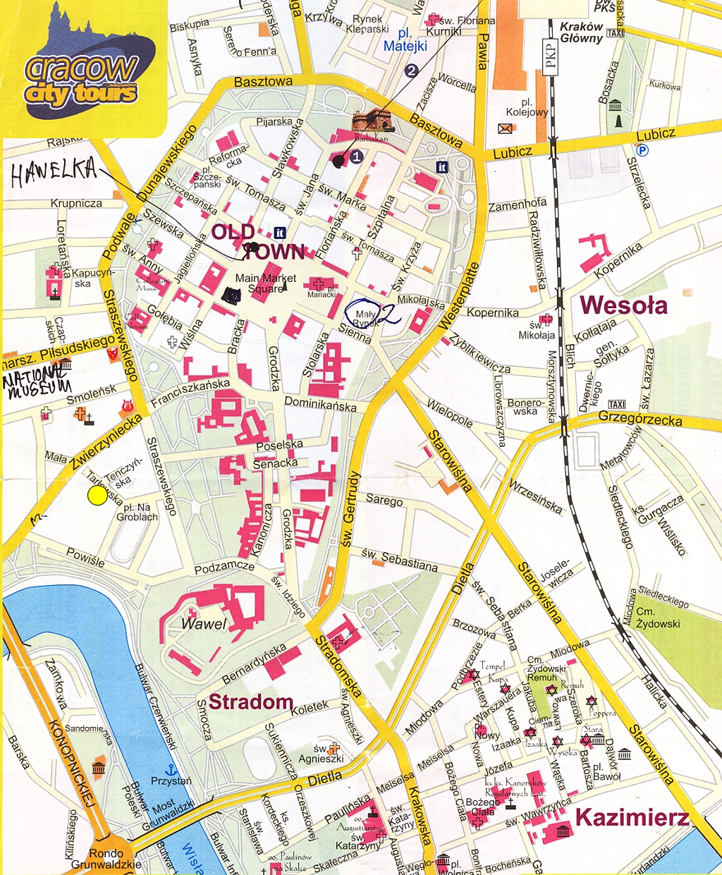 krakow tourist map krakow map free download get it now krakow